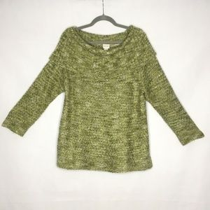 Chicos Dorothy Sweater Off The Shoulder Cowl Neck